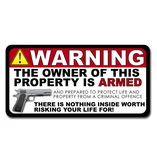 Armed Gun Owner Home Auto Security Warning Decal Sticker