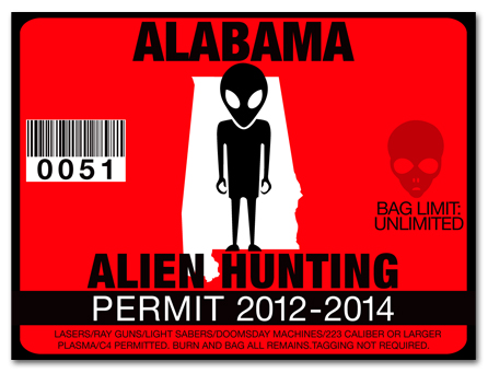 Alien hunting permit license choose from all u s states for How much is a fishing license in alabama