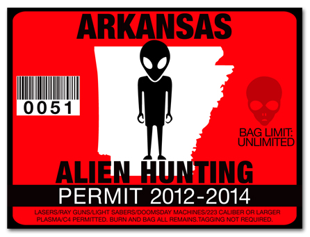 Alien hunting permit license choose from all u s states for How much is a fishing license in arkansas