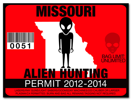 Alien hunting permit license choose from all u s states for Mo fishing license