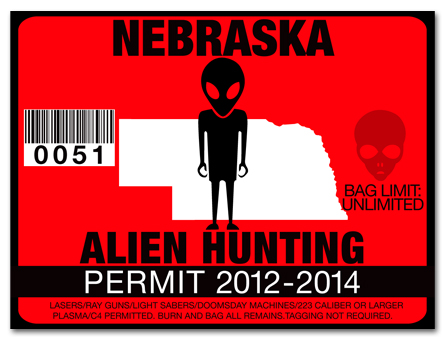 Alien hunting permit license choose from all u s states for Nebraska fishing license