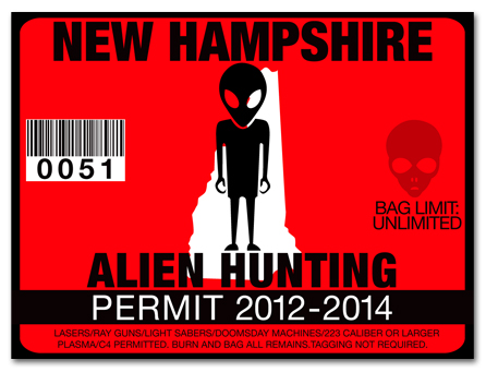 Alien hunting permit license choose from all u s states for New hampshire fishing license