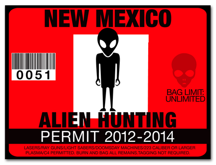 Alien hunting permit license choose from all u s states for New mexico fishing license