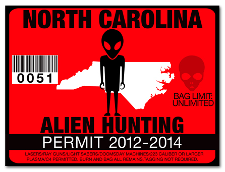 Alien hunting permit license choose from all u s states for Nc hunting and fishing license