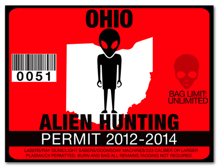 Alien hunting permit license choose from all u s states for Fishing license ohio