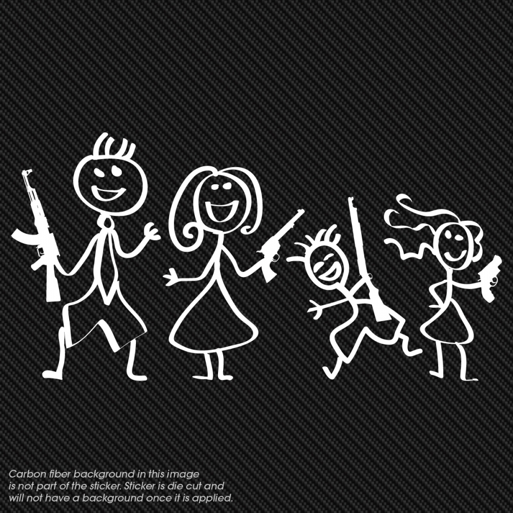 Vinyl Window Decals : The gun family vinyl window decal
