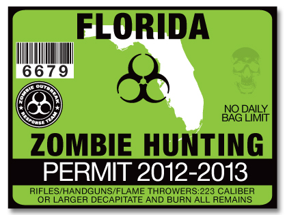 Zombie hunting permit license choose from all 50 u s for Free fishing license florida