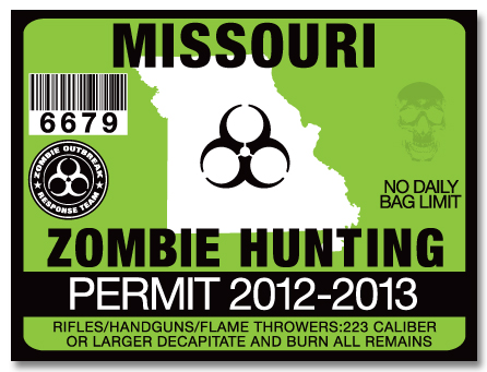 Zombie hunting permit license choose from all 50 u s for Mo fishing license