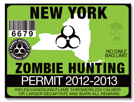 Zombie hunting permit license choose from all 50 u s for Free fishing license ny
