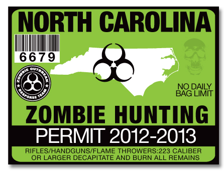 Zombie hunting permit license choose from all 50 u s for How much is a fishing license in nc
