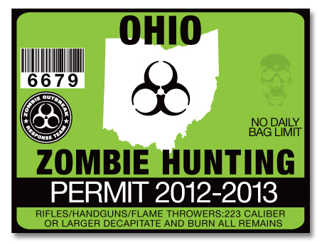 Zombie hunting permit license choose from all 50 u s for Ohio fishing license online