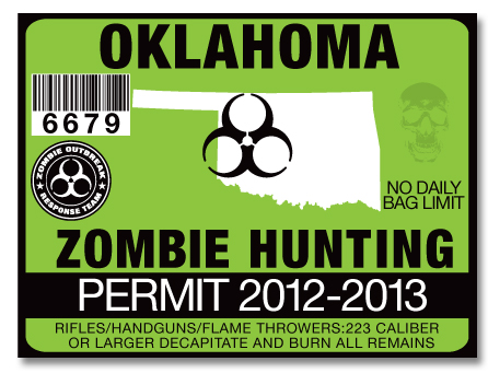 Zombie hunting permit license choose from all 50 u s for Fishing license in oklahoma