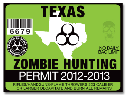 Zombie hunting permit license choose from all 50 u s for Texas hunting and fishing license