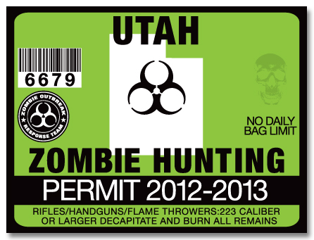 Zombie hunting permit license choose from all 50 u s for Utah non resident fishing license