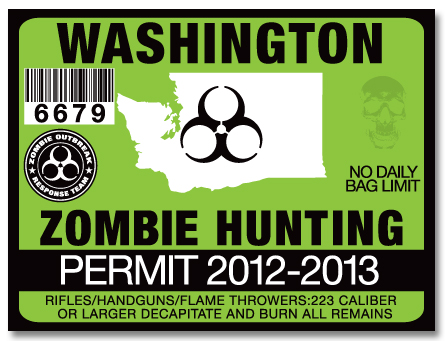 Zombie Hunting Permit License Choose From All 50 U S