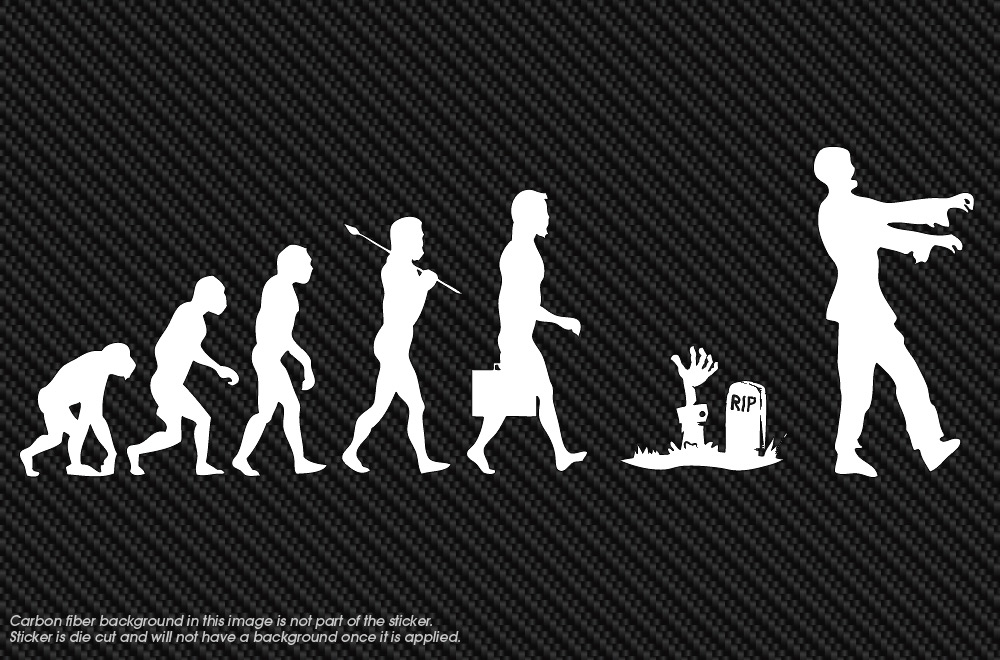 zombie evolution walking dead vinyl window decal