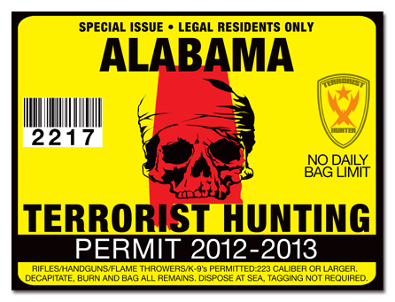 Terrorist hunting permit license choose from all u s for Al fishing license