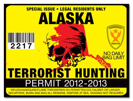 Terrorist hunting permit license choose from all u s for State of alaska fishing license