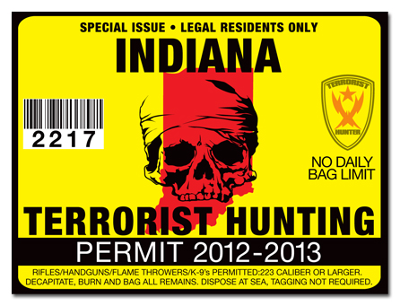 Terrorist hunting permit license choose from all u s for Fishing license indiana