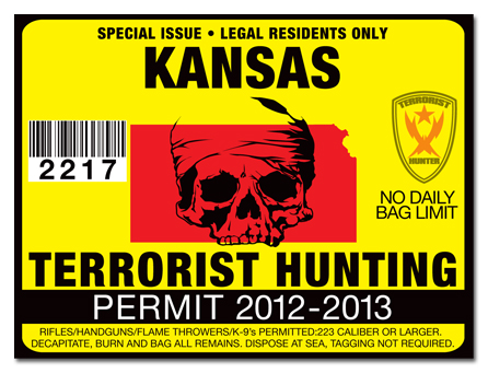 Terrorist hunting permit license choose from all u s for Ks fishing license