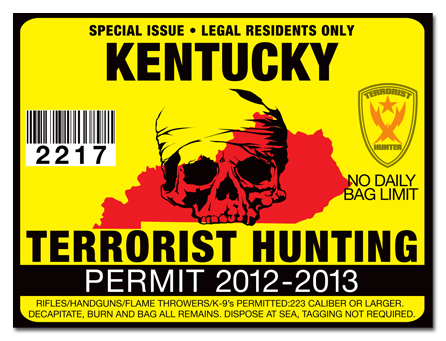 Terrorist hunting permit license choose from all u s for Ky fishing license