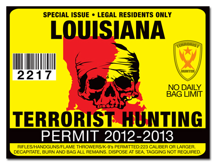 Terrorist hunting permit license choose from all u s for Fishing license in louisiana