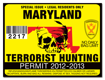 Terrorist hunting permit license choose from all u s for Md fishing license