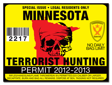 Terrorist hunting permit license choose from all u s for How much is a minnesota fishing license