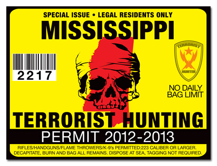 Terrorist hunting permit license choose from all u s for Fishing license ms