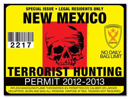 Terrorist hunting permit license choose from all u s for New mexico fishing license