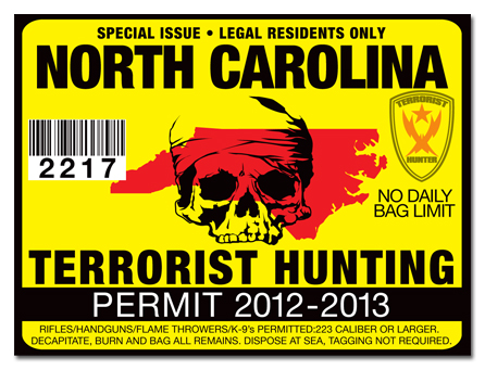 Terrorist hunting permit license choose from all u s for Nc wildlife fishing license