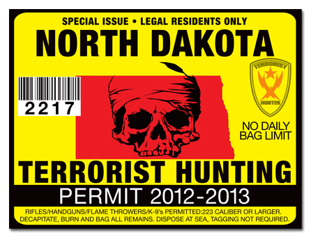 Terrorist hunting permit license choose from all u s for North dakota fishing license