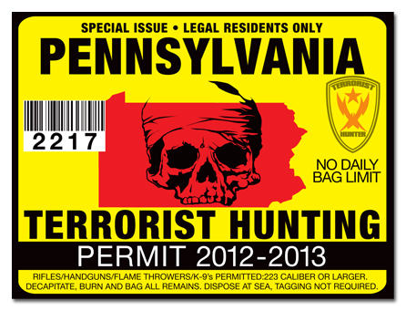 Terrorist hunting permit license choose from all u s for Pa fishing license prices