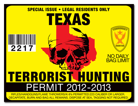 Terrorist hunting permit license choose from all u s for Tx fishing license