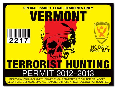Terrorist hunting permit license choose from all u s for Vermont fishing license