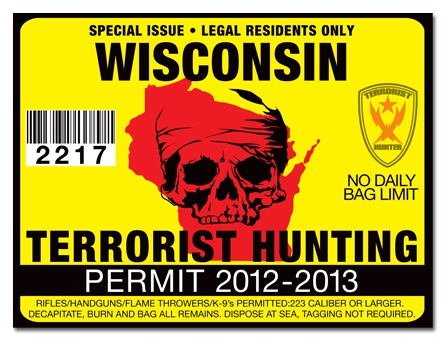 Terrorist hunting permit license choose from all u s for Wisconsin fishing license