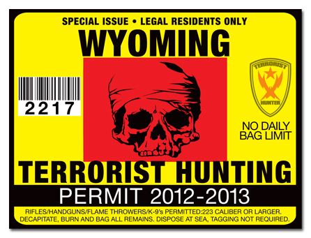 Terrorist hunting permit license choose from all u s for Wyoming fishing license