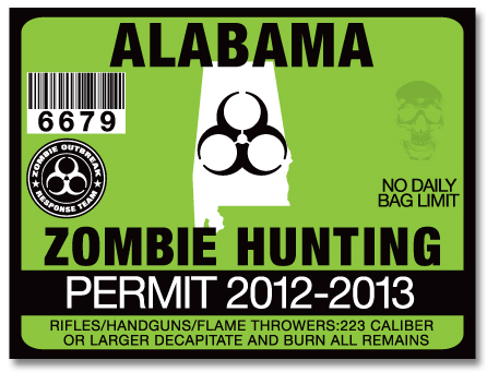 Zombie hunting permit license choose from all u s states for Alabama fishing license