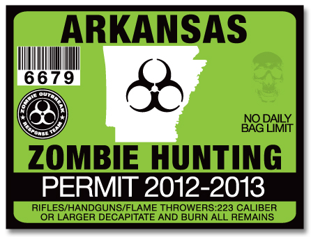 Zombie hunting permit license choose from all u s states for Arkansas fishing license