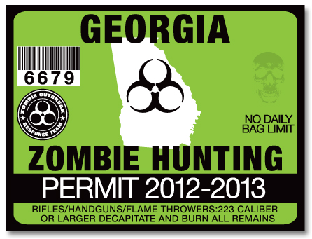 Zombie hunting permit license choose from all u s states for Georgia fishing license