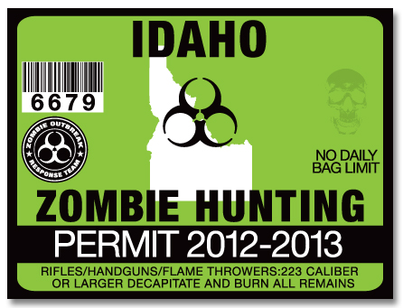 Zombie hunting permit license choose from all u s states for Idaho fishing license
