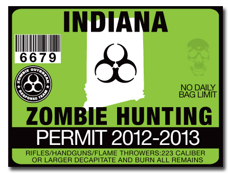 Zombie hunting permit license choose from all u s states for Fishing license indiana