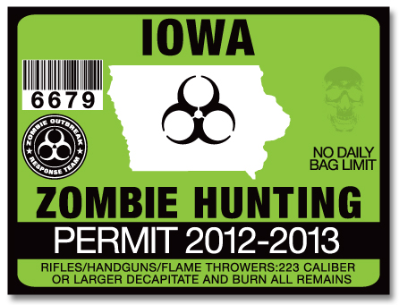 Zombie hunting permit license choose from all u s states for Iowa fishing license online