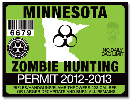 Zombie hunting permit license choose from all u s states for Minnesota fishing license