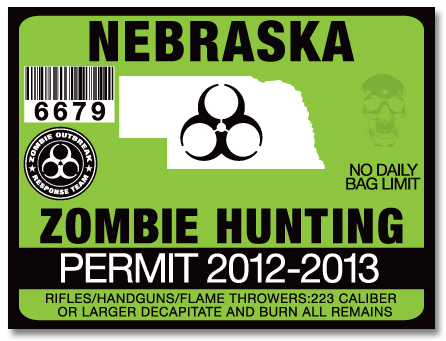 Zombie hunting permit license choose from all u s states for Michigan fishing license prices