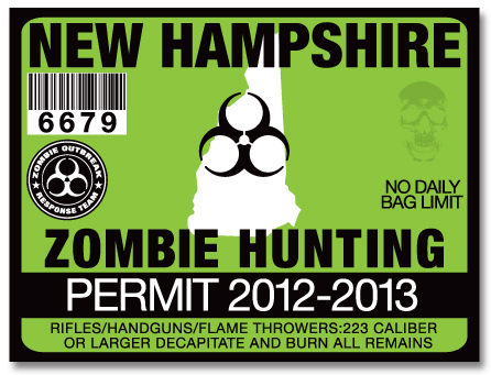 Zombie hunting permit license choose from all u s states for New hampshire fishing license