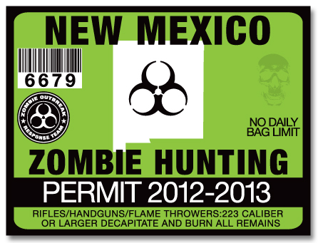 Zombie hunting permit license choose from all u s states for New mexico fishing license