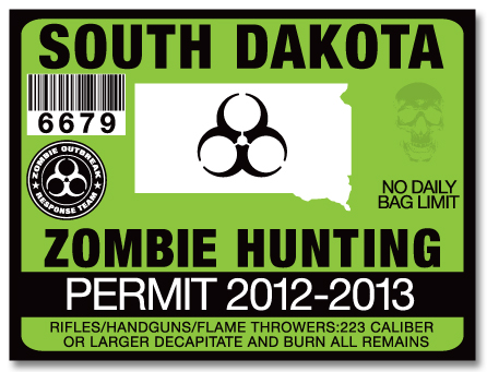 Zombie hunting permit license choose from all u s states for South dakota fishing license