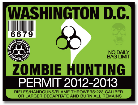 Zombie hunting permit license choose from all u s states for Washington dc fishing license