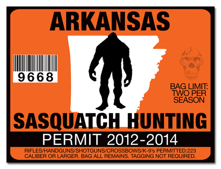 Sasquatch hunting permit license choose from all u s for Arkansas fishing license